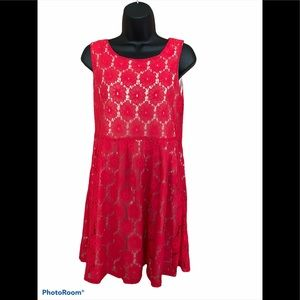 Magic Red Embroidered Floral Dress